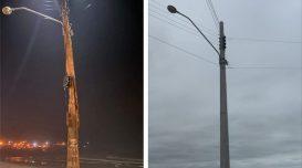 Antes e depois. Foto: Divulgação/Agora Laguna e Divulgação/PML